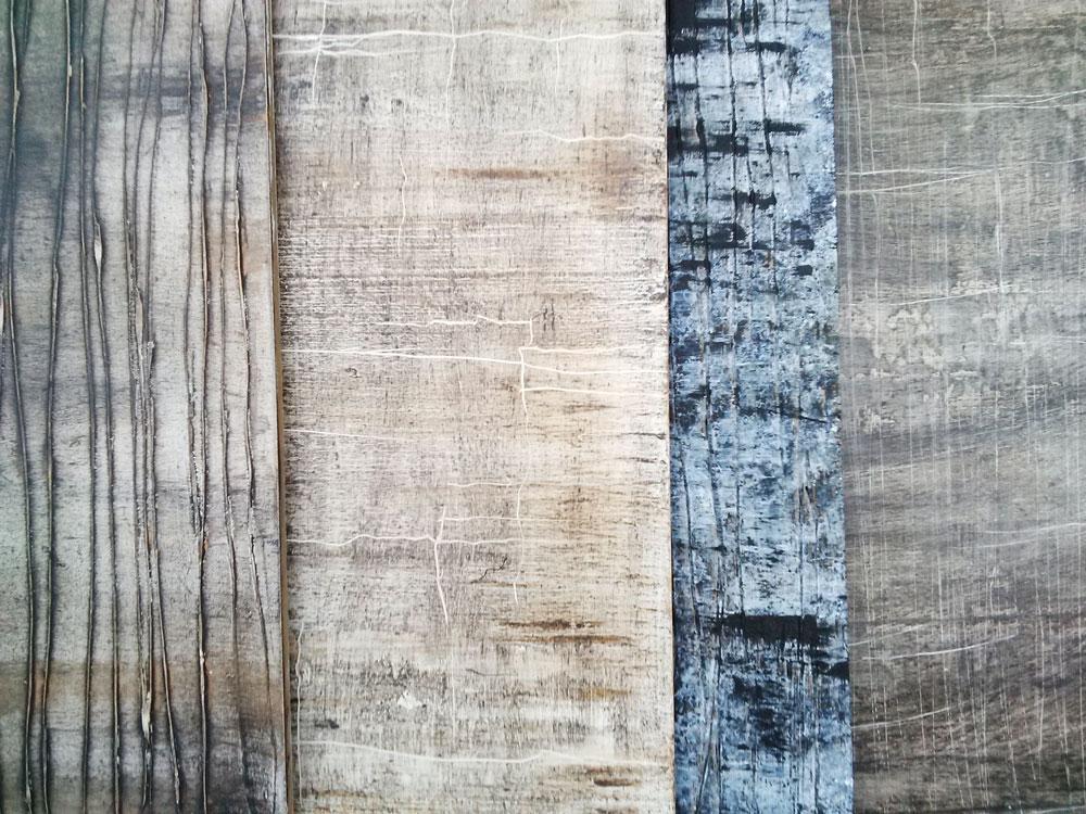 maquette avec 4 échantillons d'effet de matière bois et écorce