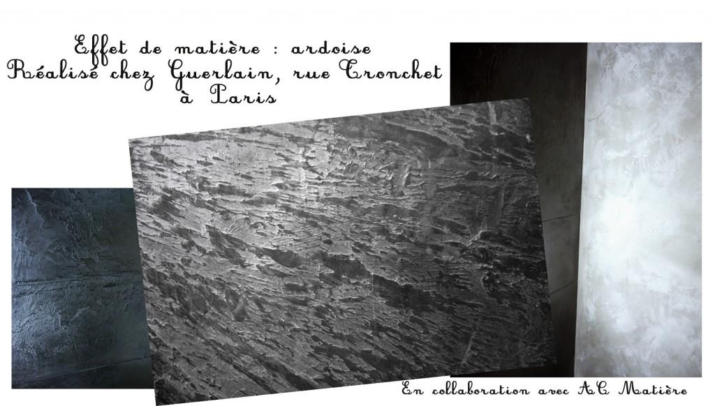 Phot des murs en effet de matière ardoise, Guerlain, rue Tronchet à Paris