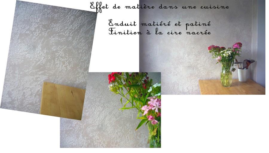 photo d'un mur de cuisine en matière écorce nacrée
