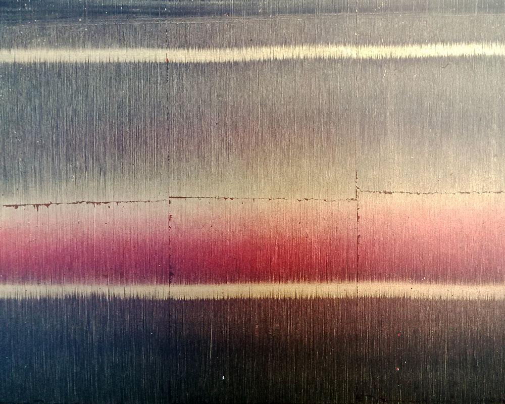 patine striée à l'huile sur fond de feuille de cuivre, vernis mat