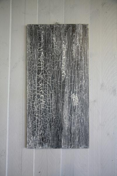 panneau de matière écorce, noir et blanc