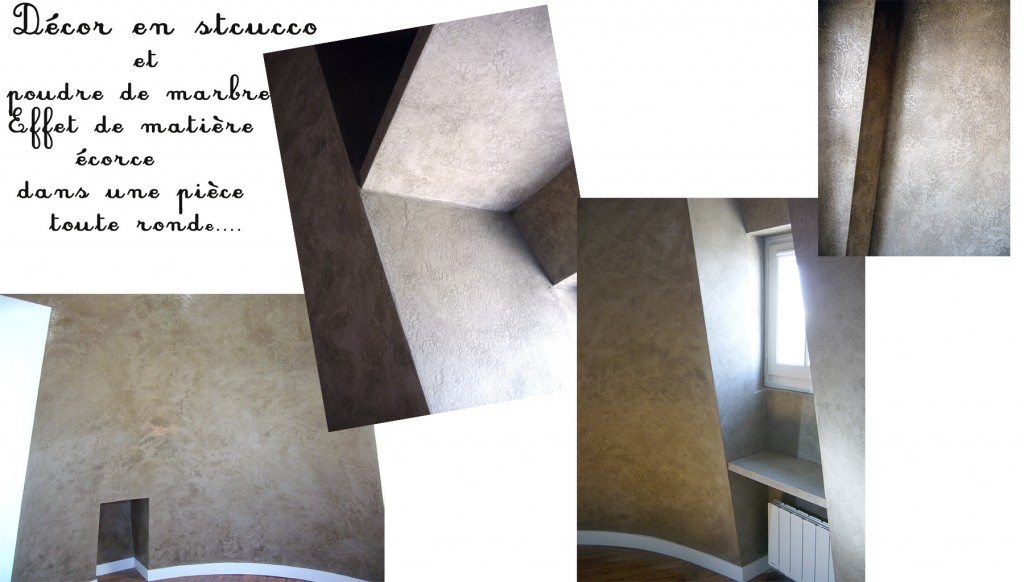 maquette de photos d'un bureau tout rond, effet de matière écorce