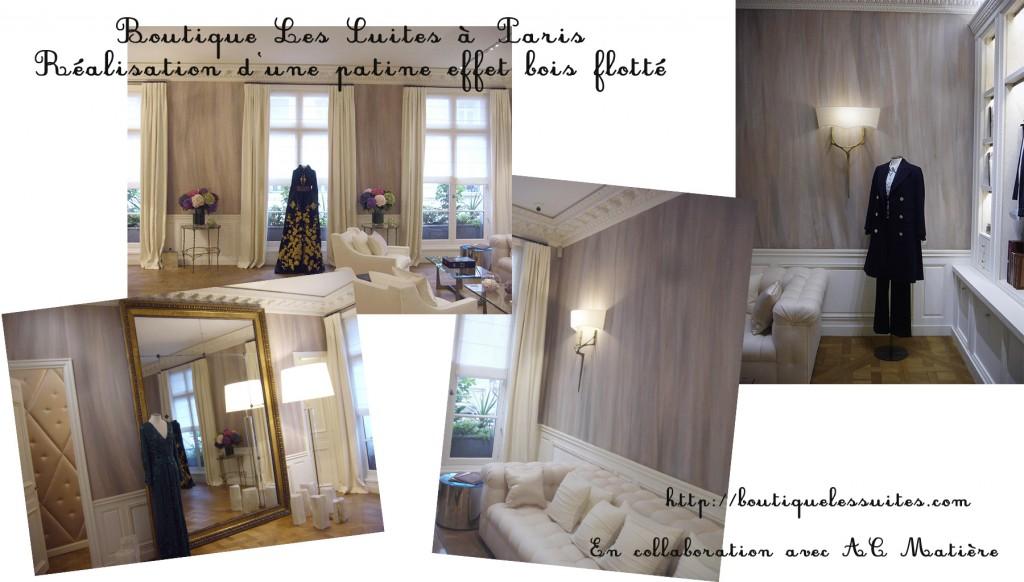 maquette de photos du décor dans la boutique Les Suites, prêt à porter de luxe, à Paris
