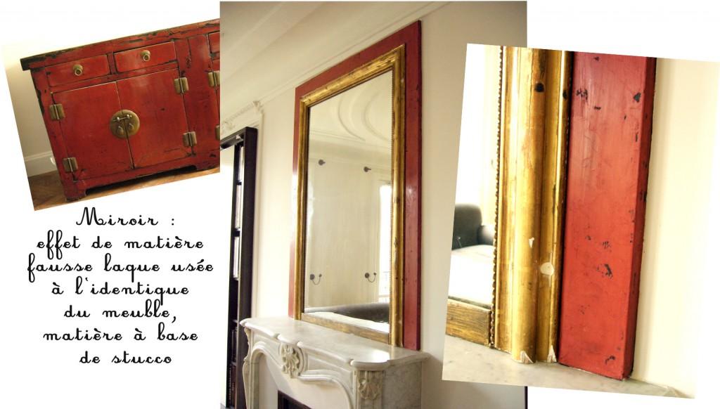 Maquette de photos d'un cadre de miroir réalisé en stucco, effet de matière fausse laque rouge ancienne