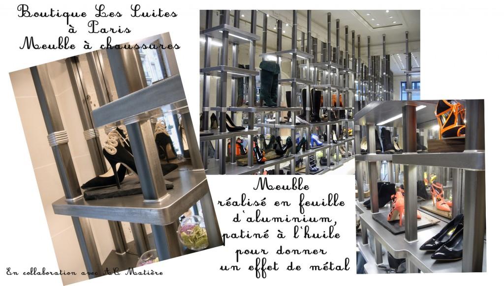 maquette de photos du meuble à chaussures de la boutique Les Suites à Paris, meuble en feuille d'aluminium patiné