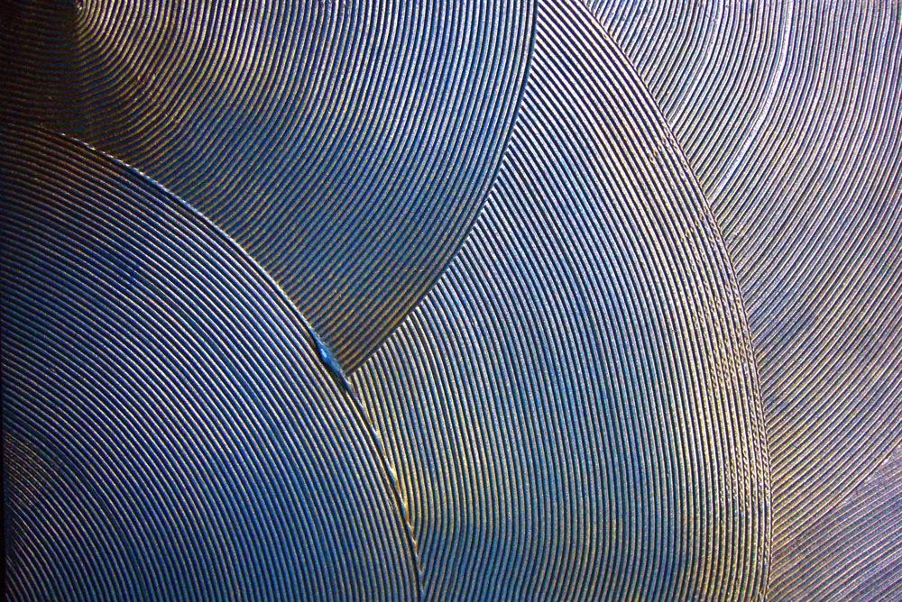 effet de matière éventail, bleu turquoise et feuille de cuivre