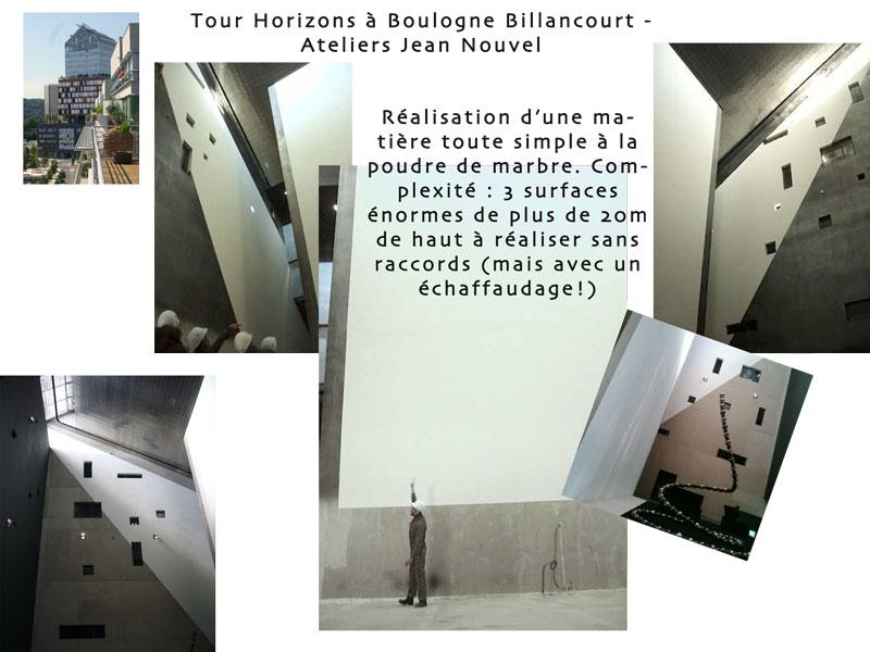 maquette des murs de la tour Horizons, boulogne Billancourt, effet de matière plâtre à la poudre de marbre