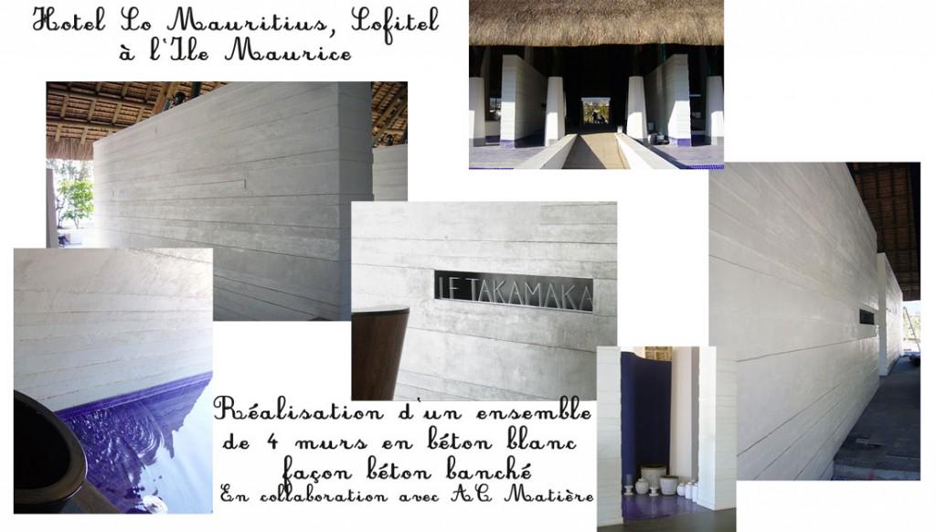 Maquette de photos de la salle de restaurant de l'hotel So Mauritius à l'Ile Maurice : réalisation d'ensemble de murs en béton banché blanc